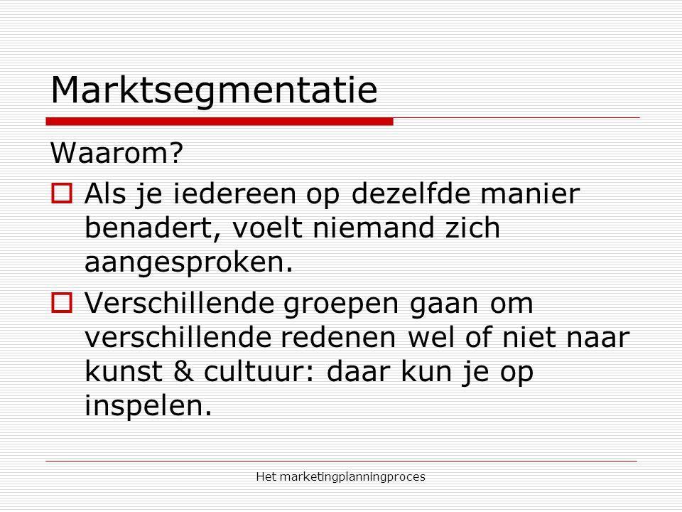 Het marketingplanningproces Marktsegmentatie Waarom.
