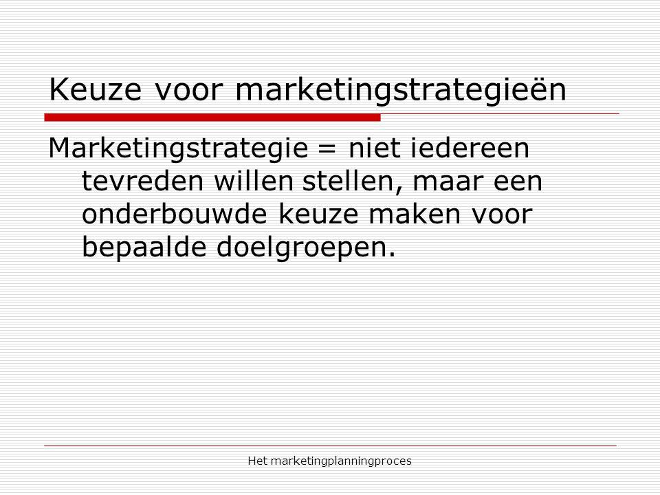 Het marketingplanningproces Keuze voor marketingstrategieën Marketingstrategie = niet iedereen tevreden willen stellen, maar een onderbouwde keuze maken voor bepaalde doelgroepen.