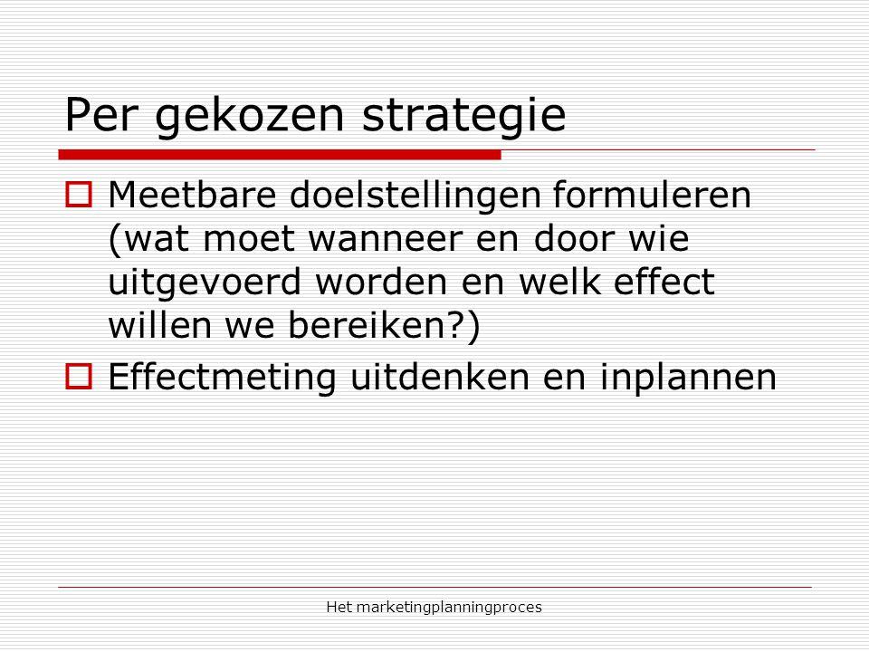 Het marketingplanningproces Per gekozen strategie  Meetbare doelstellingen formuleren (wat moet wanneer en door wie uitgevoerd worden en welk effect willen we bereiken?)  Effectmeting uitdenken en inplannen