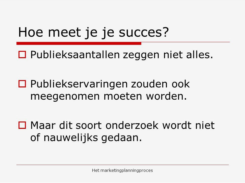 Het marketingplanningproces Hoe meet je je succes?  Publieksaantallen zeggen niet alles.  Publiekservaringen zouden ook meegenomen moeten worden. 