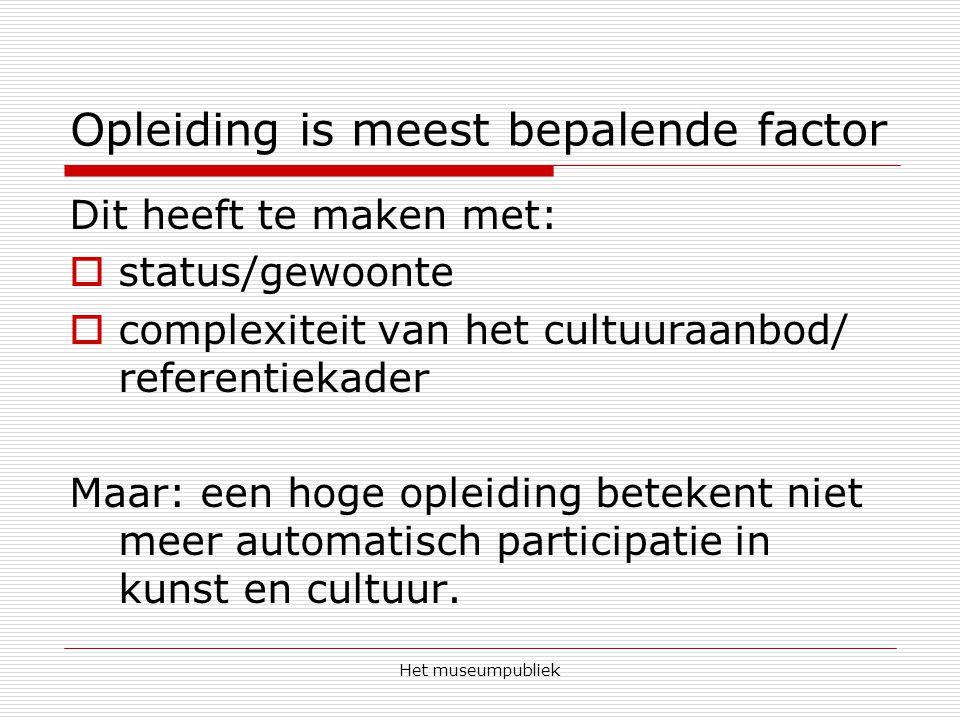 Het museumpubliek Opleiding is meest bepalende factor Dit heeft te maken met:  status/gewoonte  complexiteit van het cultuuraanbod/ referentiekader Maar: een hoge opleiding betekent niet meer automatisch participatie in kunst en cultuur.