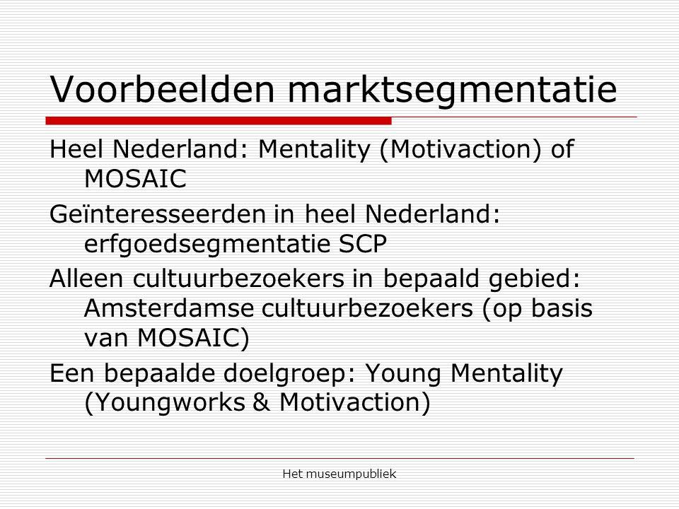 Het museumpubliek Voorbeelden marktsegmentatie Heel Nederland: Mentality (Motivaction) of MOSAIC Geïnteresseerden in heel Nederland: erfgoedsegmentatie SCP Alleen cultuurbezoekers in bepaald gebied: Amsterdamse cultuurbezoekers (op basis van MOSAIC) Een bepaalde doelgroep: Young Mentality (Youngworks & Motivaction)