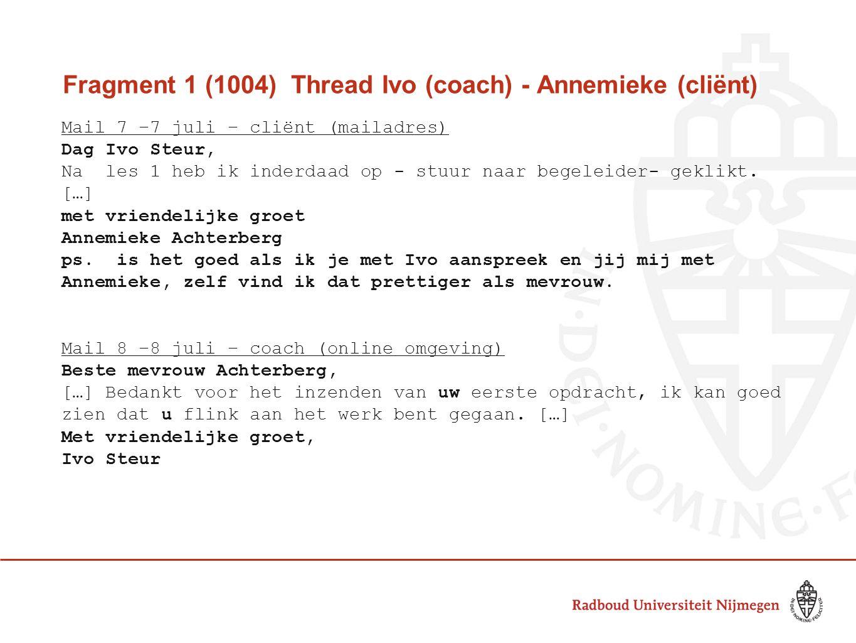 Fragment 1 (1004) Thread Ivo (coach) - Annemieke (cliënt) Mail 7 –7 juli – cliënt (mailadres) Dag Ivo Steur, Na les 1 heb ik inderdaad op - stuur naar