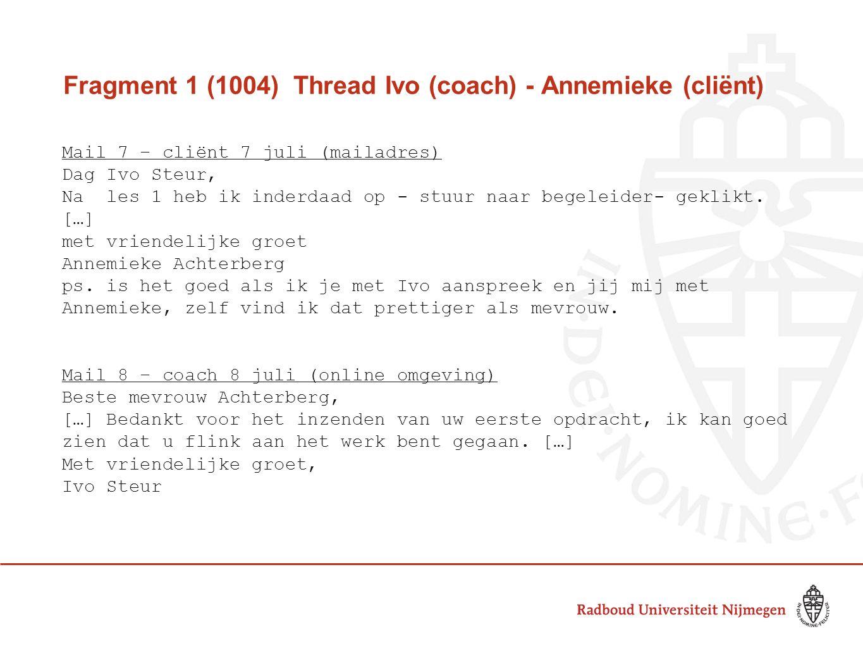 Fragment 1 (1004) Thread Ivo (coach) - Annemieke (cliënt) Mail 7 – cliënt 7 juli (mailadres) Dag Ivo Steur, Na les 1 heb ik inderdaad op - stuur naar