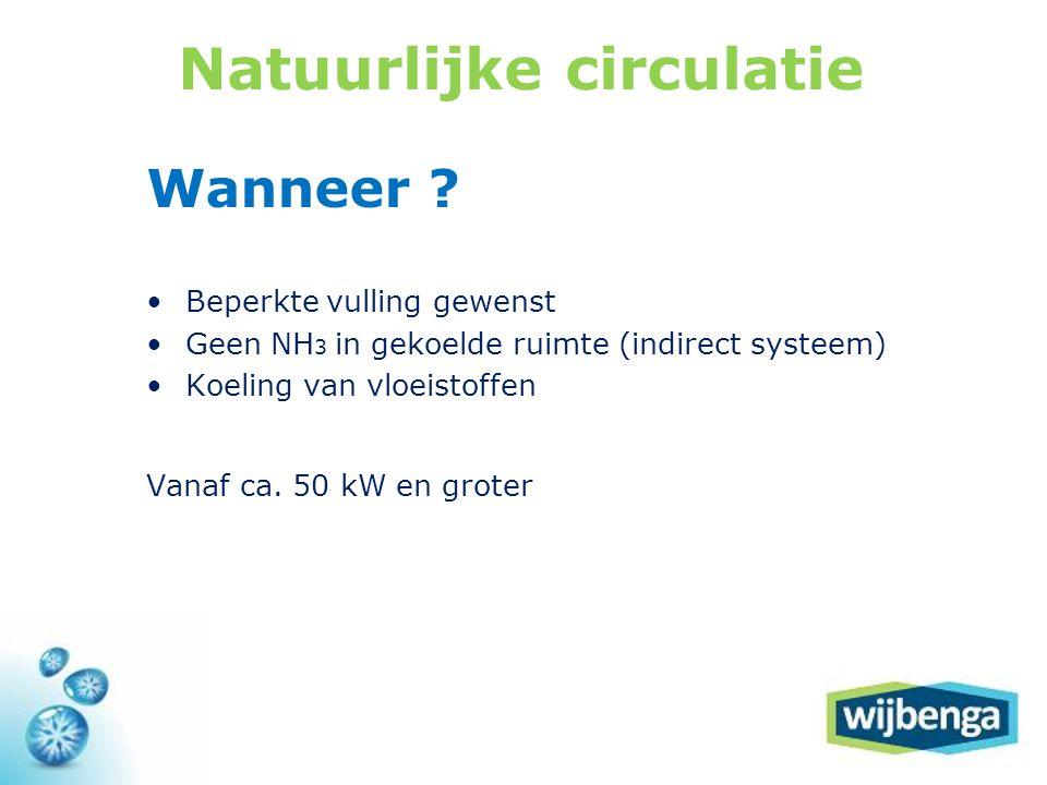 Natuurlijke circulatie Wanneer ? •Beperkte vulling gewenst •Geen NH 3 in gekoelde ruimte (indirect systeem) •Koeling van vloeistoffen Vanaf ca. 50 kW