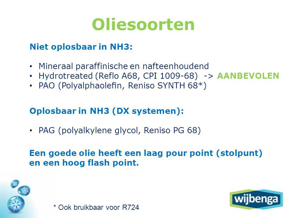 Oliesoorten Niet oplosbaar in NH3: • Mineraal paraffinische en nafteenhoudend • Hydrotreated (Reflo A68, CPI 1009-68) -> AANBEVOLEN • PAO (Polyalphaolefin, Reniso SYNTH 68*) Oplosbaar in NH3 (DX systemen): • PAG (polyalkylene glycol, Reniso PG 68) * Ook bruikbaar voor R724 Een goede olie heeft een laag pour point (stolpunt) en een hoog flash point.
