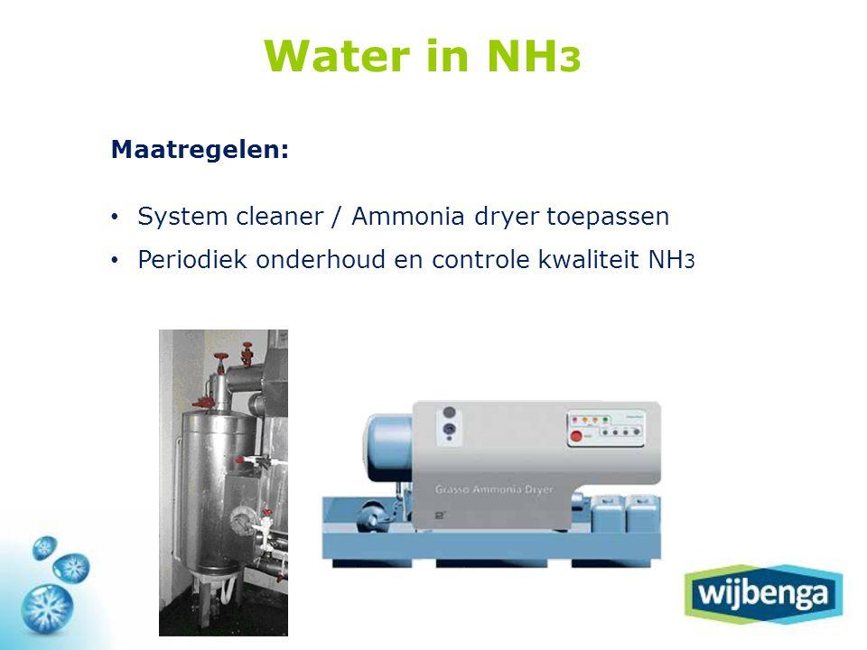 Maatregelen: • System cleaner / Ammonia dryer toepassen • Periodiek onderhoud en controle kwaliteit NH 3 Water in NH 3