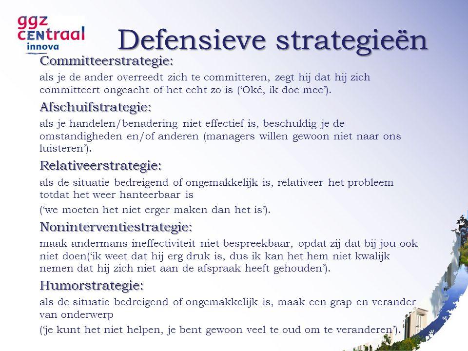 Defensieve strategieën Committeerstrategie: als je de ander overreedt zich te committeren, zegt hij dat hij zich committeert ongeacht of het echt zo