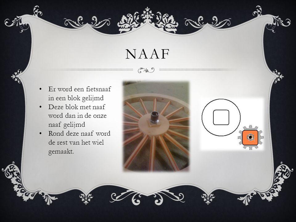 NAAF • Er word een fietsnaaf in een blok gelijmd • Deze blok met naaf word dan in de onze naaf gelijmd • Rond deze naaf word de rest van het wiel gema