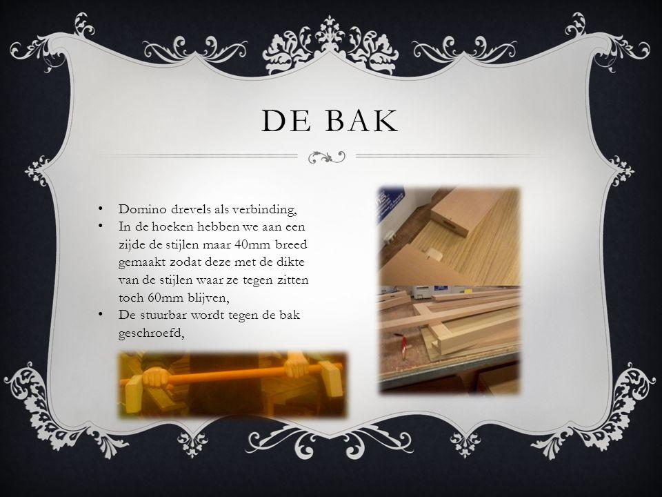 DE BAK • Domino drevels als verbinding, • In de hoeken hebben we aan een zijde de stijlen maar 40mm breed gemaakt zodat deze met de dikte van de stijl
