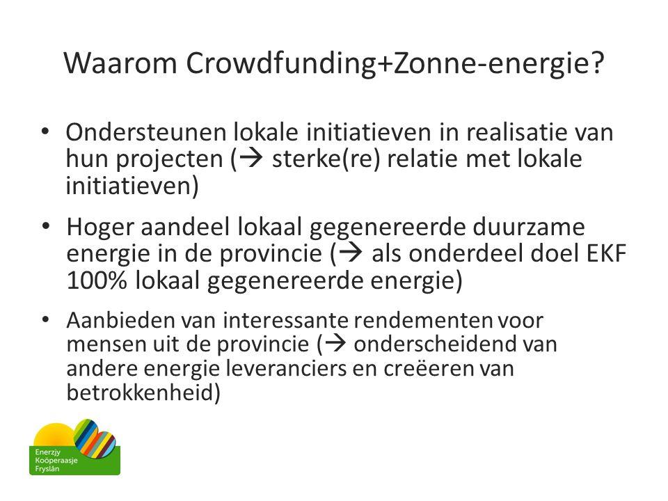 Waarom Crowdfunding+Zonne-energie? • Ondersteunen lokale initiatieven in realisatie van hun projecten (  sterke(re) relatie met lokale initiatieven)