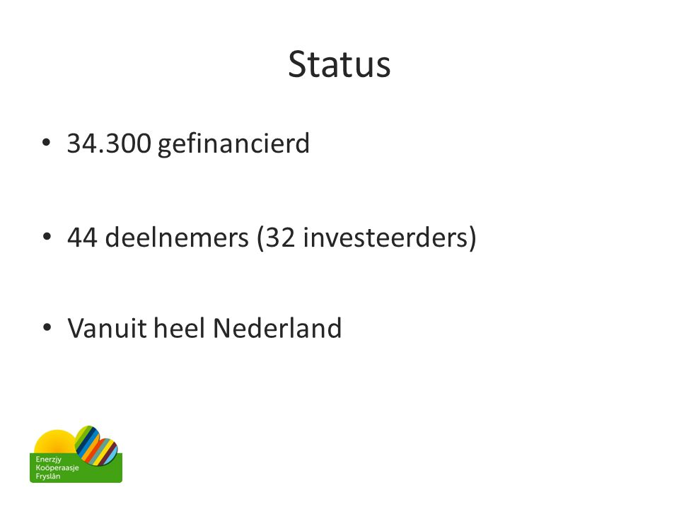 Status • 34.300 gefinancierd • 44 deelnemers (32 investeerders) • Vanuit heel Nederland