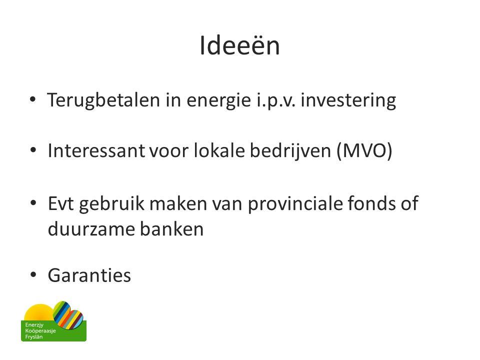 Ideeën • Terugbetalen in energie i.p.v. investering • Interessant voor lokale bedrijven (MVO) • Evt gebruik maken van provinciale fonds of duurzame ba