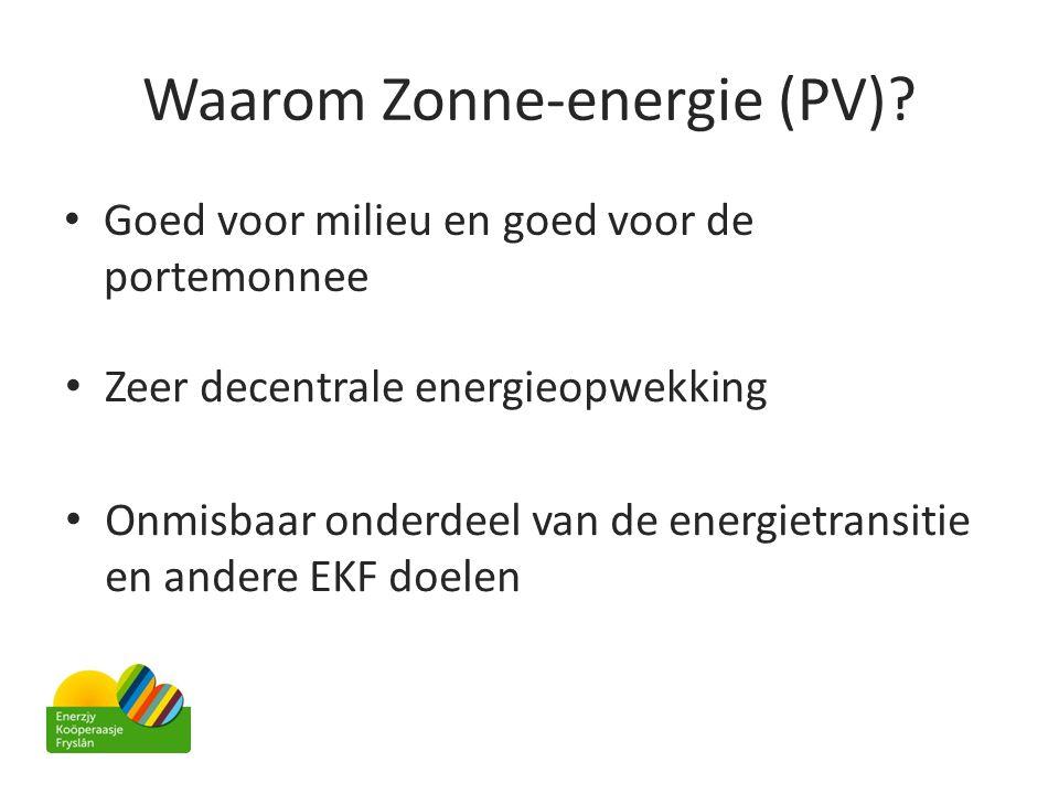 Waarom Zonne-energie (PV)? • Goed voor milieu en goed voor de portemonnee • Zeer decentrale energieopwekking • Onmisbaar onderdeel van de energietrans