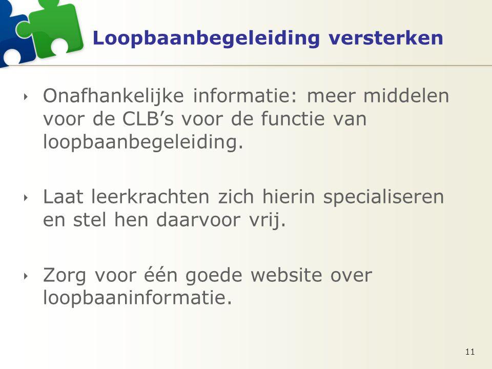 Loopbaanbegeleiding versterken  Onafhankelijke informatie: meer middelen voor de CLB's voor de functie van loopbaanbegeleiding.