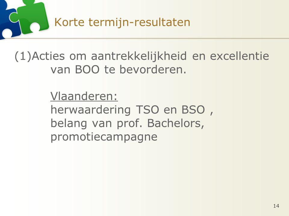 Korte termijn-resultaten (1)Acties om aantrekkelijkheid en excellentie van BOO te bevorderen.