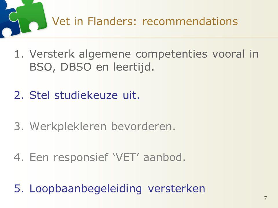 Vet in Flanders: recommendations 1.Versterk algemene competenties vooral in BSO, DBSO en leertijd.