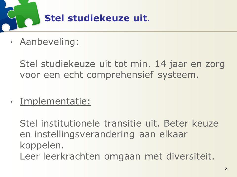 Stel studiekeuze uit.  Aanbeveling: Stel studiekeuze uit tot min.