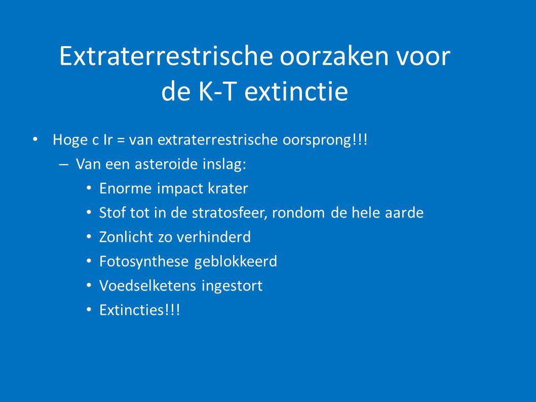 Extraterrestrische oorzaken voor de K-T extinctie • Hoge c Ir = van extraterrestrische oorsprong!!! – Van een asteroide inslag: • Enorme impact krater
