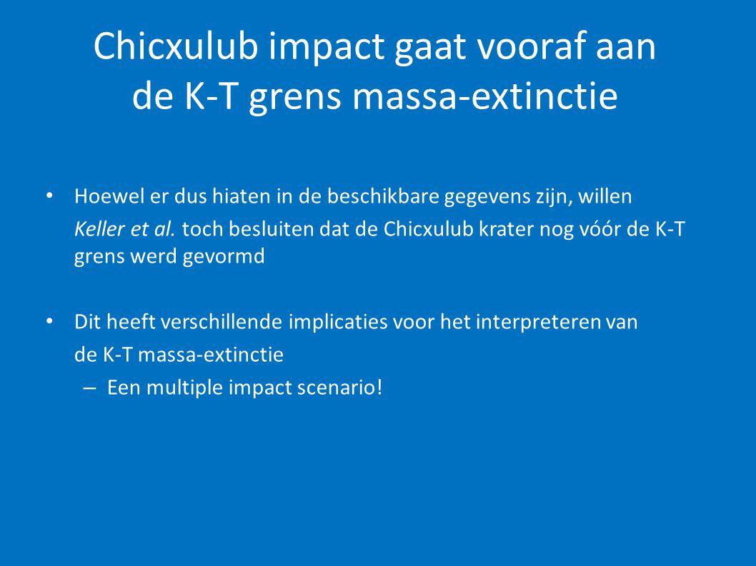 Chicxulub impact gaat vooraf aan de K-T grens massa-extinctie • Hoewel er dus hiaten in de beschikbare gegevens zijn, willen Keller et al. toch beslui