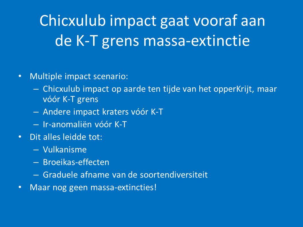 Chicxulub impact gaat vooraf aan de K-T grens massa-extinctie • Multiple impact scenario: – Chicxulub impact op aarde ten tijde van het opperKrijt, ma
