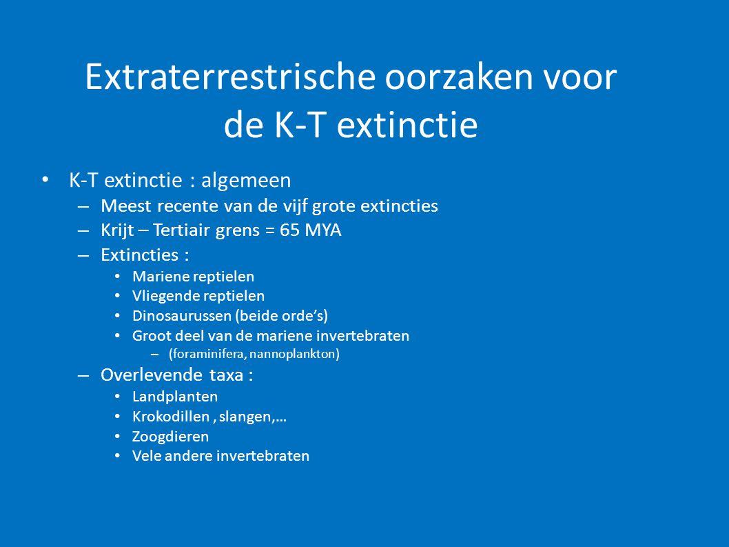 Extraterrestrische oorzaken voor de K-T extinctie • K-T extinctie : algemeen – Meest recente van de vijf grote extincties – Krijt – Tertiair grens = 6