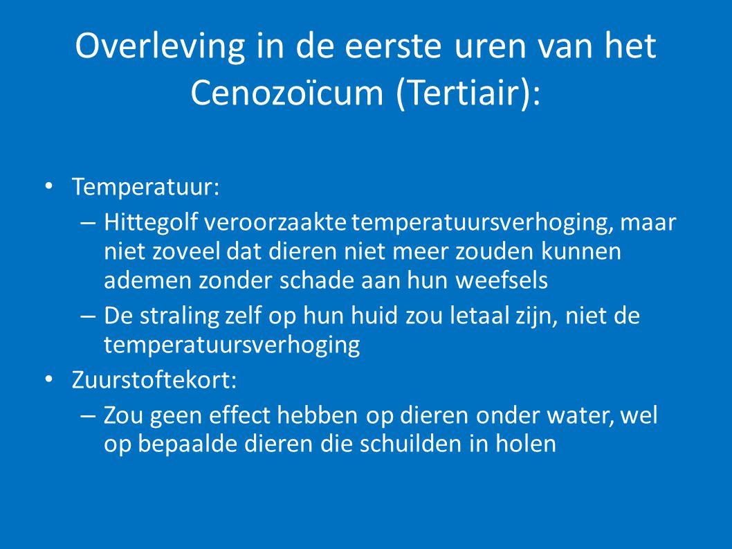 Overleving in de eerste uren van het Cenozoïcum (Tertiair): • Temperatuur: – Hittegolf veroorzaakte temperatuursverhoging, maar niet zoveel dat dieren