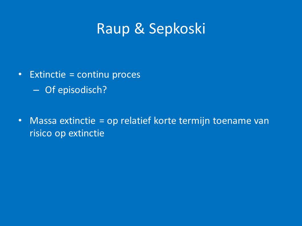Raup & Sepkoski • Extinctie = continu proces – Of episodisch? • Massa extinctie = op relatief korte termijn toename van risico op extinctie