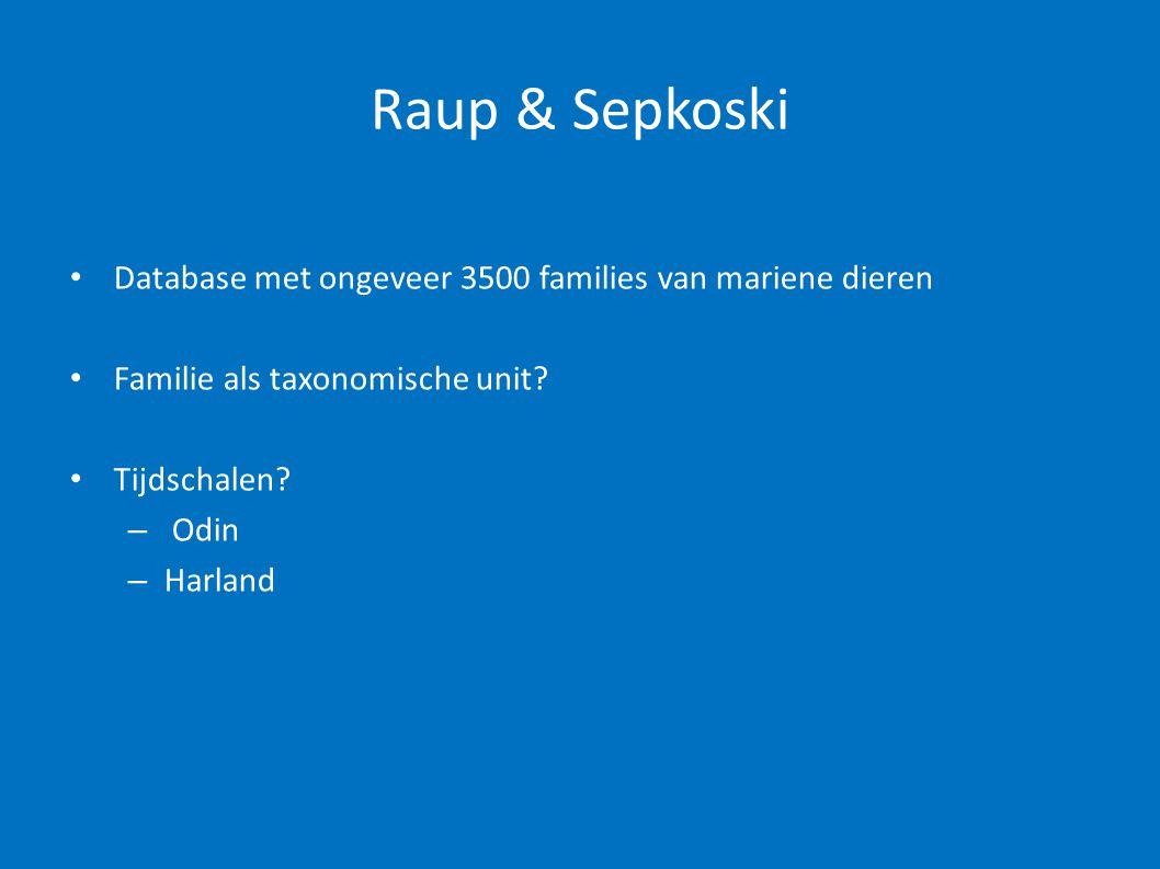 Raup & Sepkoski • Database met ongeveer 3500 families van mariene dieren • Familie als taxonomische unit? • Tijdschalen? – Odin – Harland