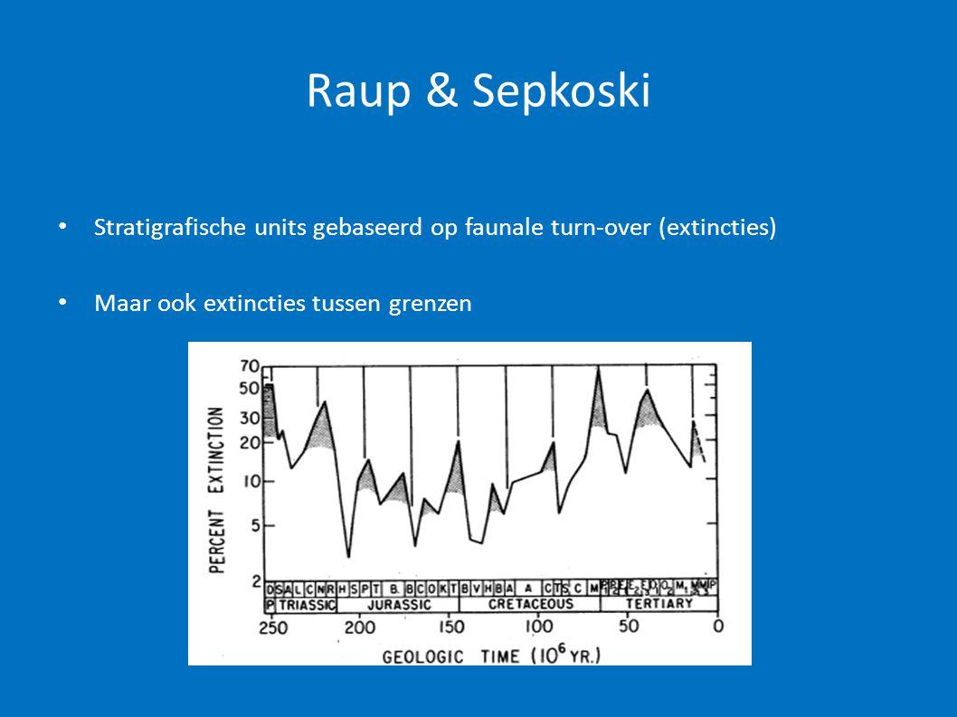 Raup & Sepkoski • Stratigrafische units gebaseerd op faunale turn-over (extincties) • Maar ook extincties tussen grenzen