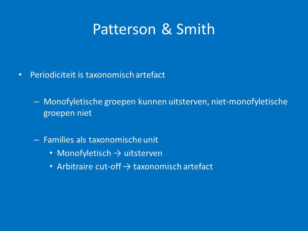 Patterson & Smith • Periodiciteit is taxonomisch artefact – Monofyletische groepen kunnen uitsterven, niet-monofyletische groepen niet – Families als