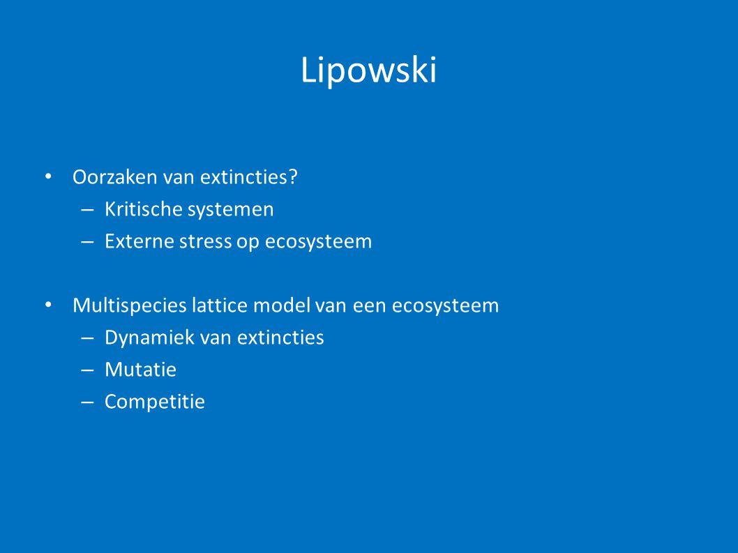 Lipowski • Oorzaken van extincties? – Kritische systemen – Externe stress op ecosysteem • Multispecies lattice model van een ecosysteem – Dynamiek van