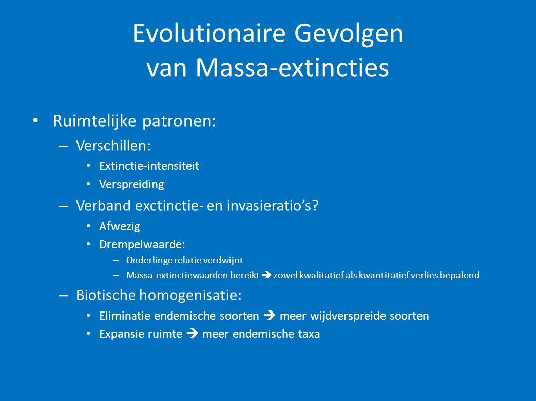 Evolutionaire Gevolgen van Massa-extincties • Ruimtelijke patronen: – Verschillen: • Extinctie-intensiteit • Verspreiding – Verband exctinctie- en inv
