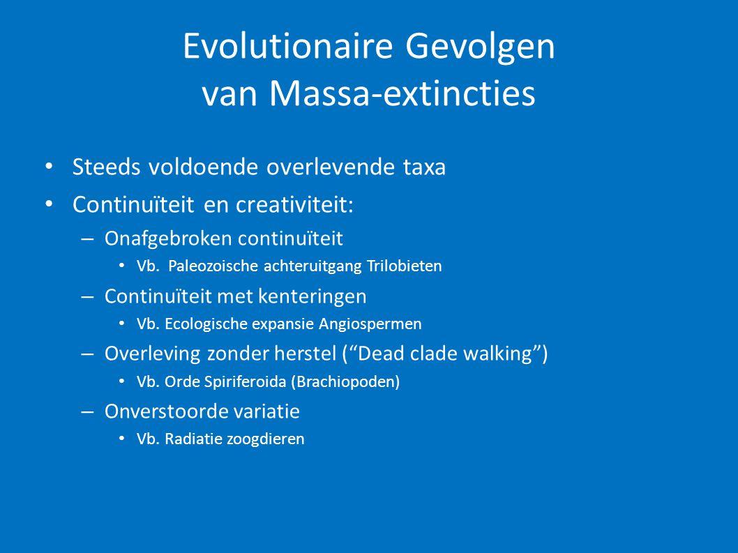 Evolutionaire Gevolgen van Massa-extincties • Steeds voldoende overlevende taxa • Continuïteit en creativiteit: – Onafgebroken continuïteit • Vb. Pale