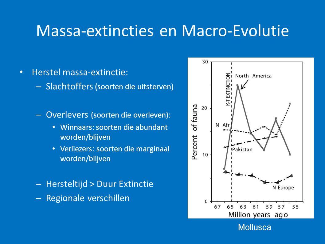 Massa-extincties en Macro-Evolutie • Herstel massa-extinctie: – Slachtoffers (soorten die uitsterven) – Overlevers (soorten die overleven): • Winnaars
