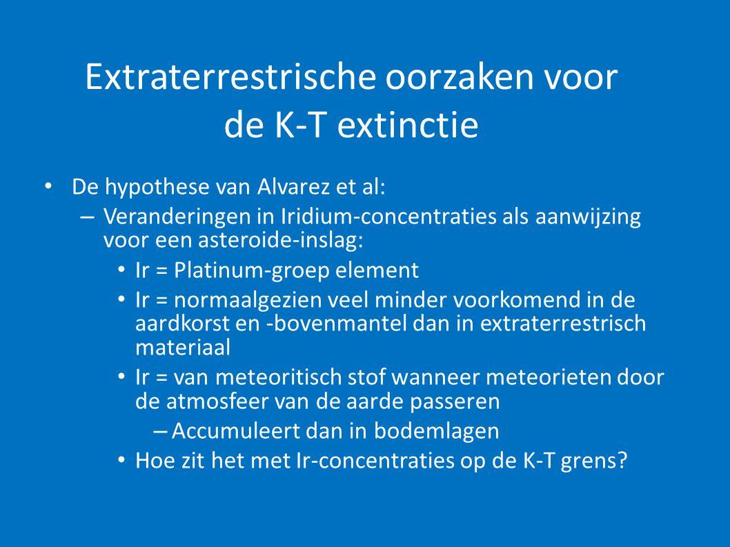 Extraterrestrische oorzaken voor de K-T extinctie • De hypothese van Alvarez et al: – Veranderingen in Iridium-concentraties als aanwijzing voor een a