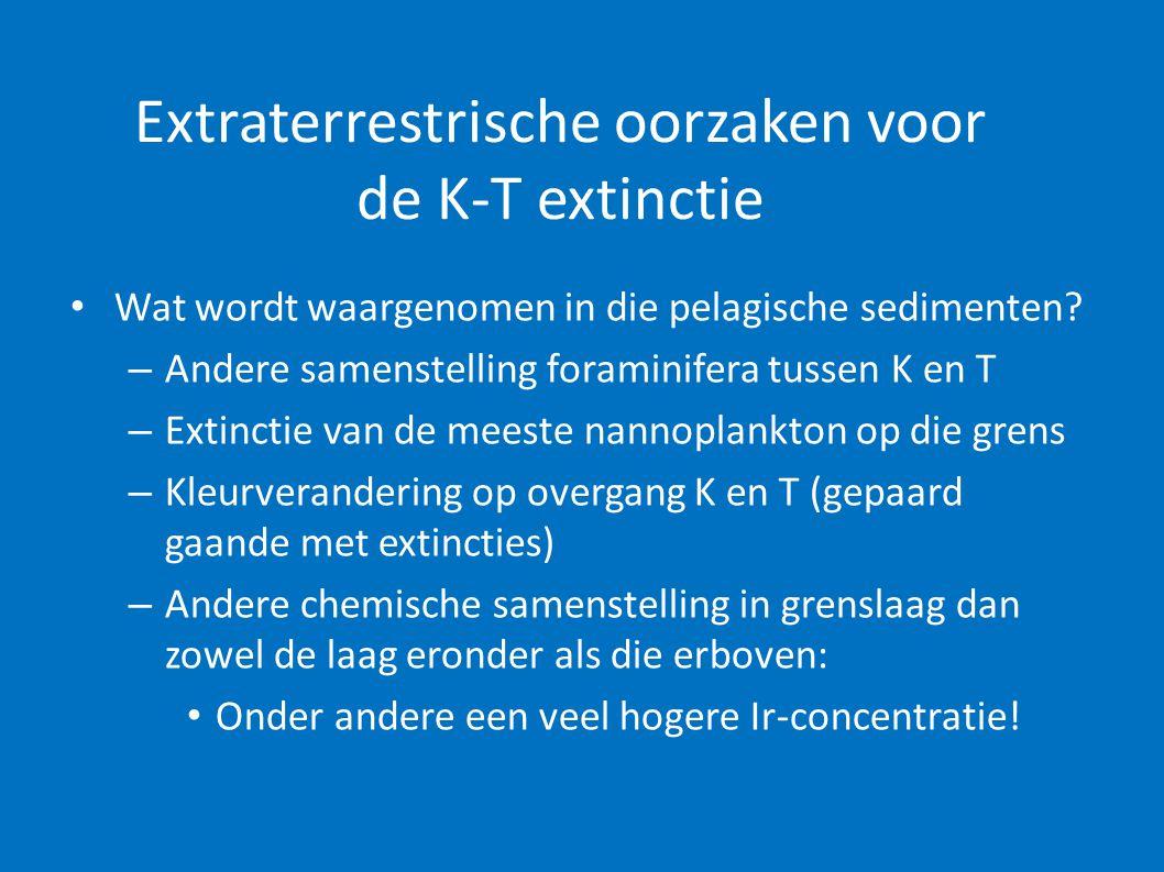 Chicxulub impact gaat vooraf aan de K-T grens massa-extinctie • Multiple impact scenario: – Chicxulub impact op aarde ten tijde van het opperKrijt, maar vóór K-T grens – Andere impact kraters vóór K-T – Ir-anomaliën vóór K-T • Dit alles leidde tot: – Vulkanisme – Broeikas-effecten – Graduele afname van de soortendiversiteit • Maar nog geen massa-extincties!