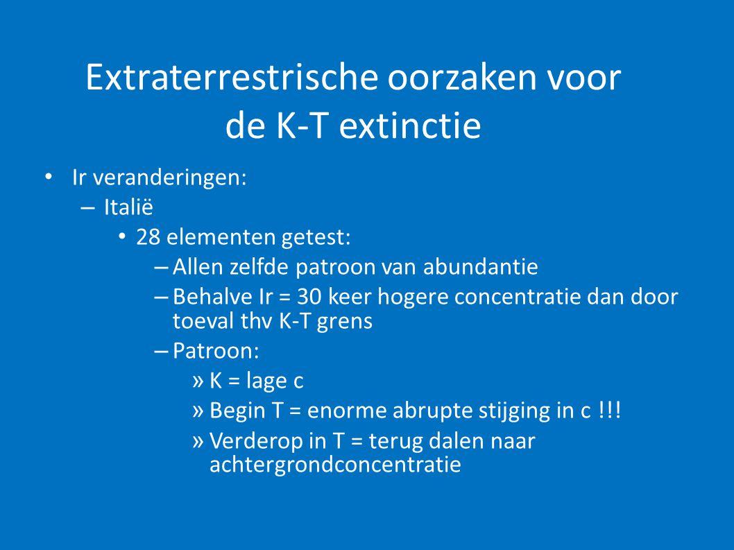 Extraterrestrische oorzaken voor de K-T extinctie • Ir veranderingen: – Denemarken: • Laag heeft andere soortensamenstelling (onder andere meer bivalven) • MAAR : Patroon van Ir = wel hetzelfde !!!