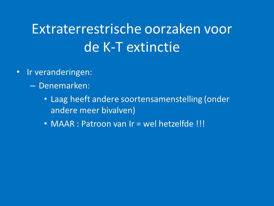 Extraterrestrische oorzaken voor de K-T extinctie • Ir veranderingen: – Denemarken: • Laag heeft andere soortensamenstelling (onder andere meer bivalv