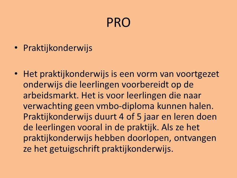 PRO • Praktijkonderwijs • Het praktijkonderwijs is een vorm van voortgezet onderwijs die leerlingen voorbereidt op de arbeidsmarkt. Het is voor leerli