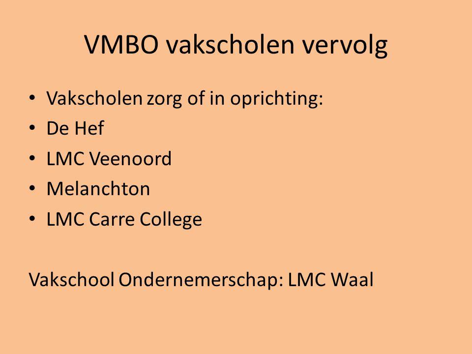 VMBO vakscholen vervolg • Vakscholen zorg of in oprichting: • De Hef • LMC Veenoord • Melanchton • LMC Carre College Vakschool Ondernemerschap: LMC Waal