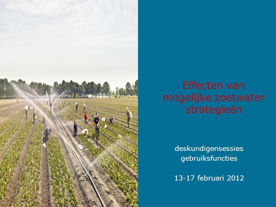 Effecten van mogelijke zoetwater strategieën deskundigensessies gebruiksfuncties 13-17 februari 2012
