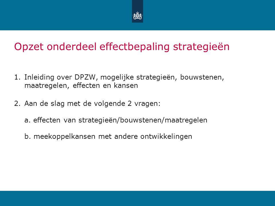Opzet onderdeel effectbepaling strategieën 1.Inleiding over DPZW, mogelijke strategieën, bouwstenen, maatregelen, effecten en kansen 2.Aan de slag met de volgende 2 vragen: a.