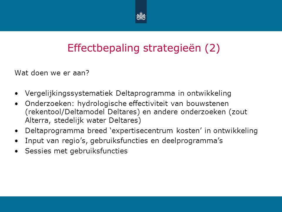 Strategie 4Effect op natuurOpmerking Water stuurt RO+ Kans zoet-zout overgangen Waterconservering, robuuste EHS Gaat meer uit van natuurlijke processen, op LT goedkoper.