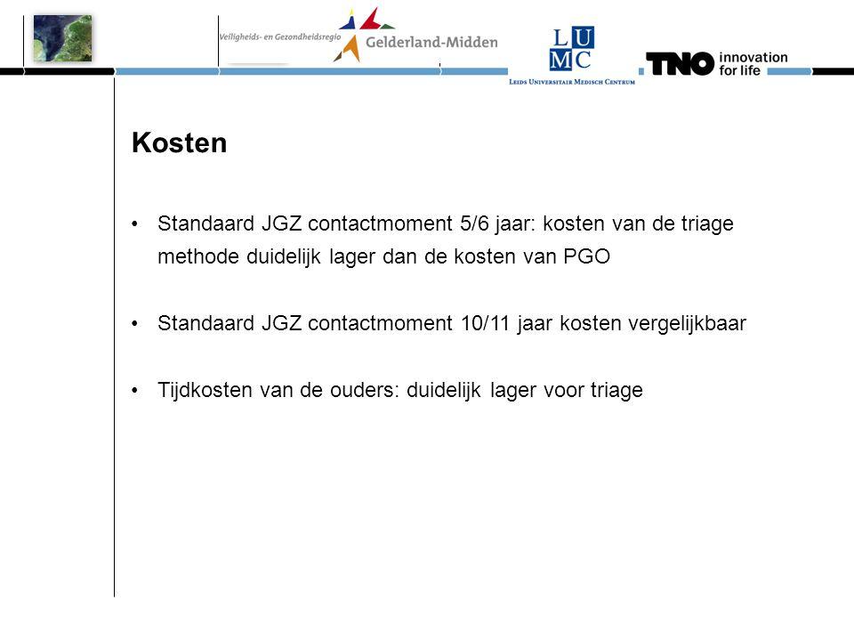 Kosten •Standaard JGZ contactmoment 5/6 jaar: kosten van de triage methode duidelijk lager dan de kosten van PGO •Standaard JGZ contactmoment 10/11 ja