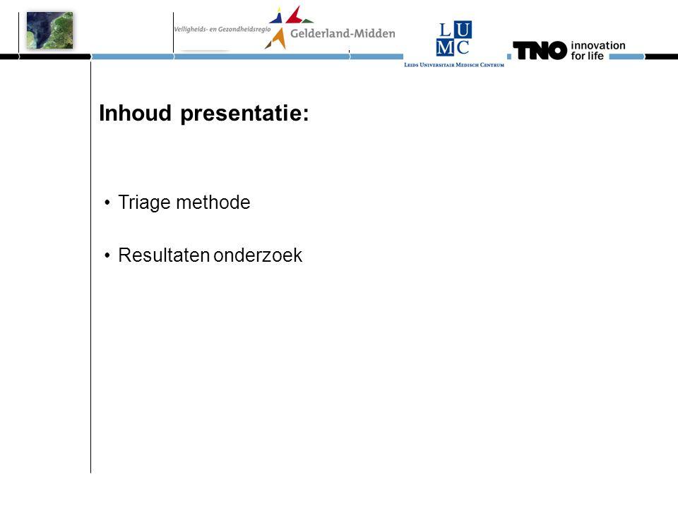 Inhoud presentatie: •Triage methode •Resultaten onderzoek