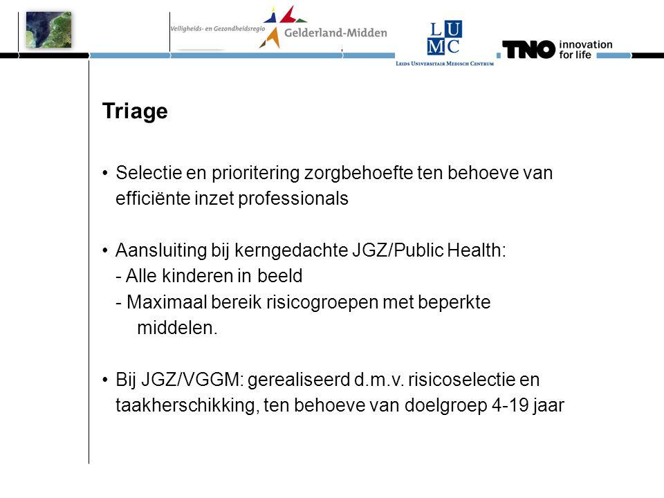 Triage •Selectie en prioritering zorgbehoefte ten behoeve van efficiënte inzet professionals •Aansluiting bij kerngedachte JGZ/Public Health: - Alle k