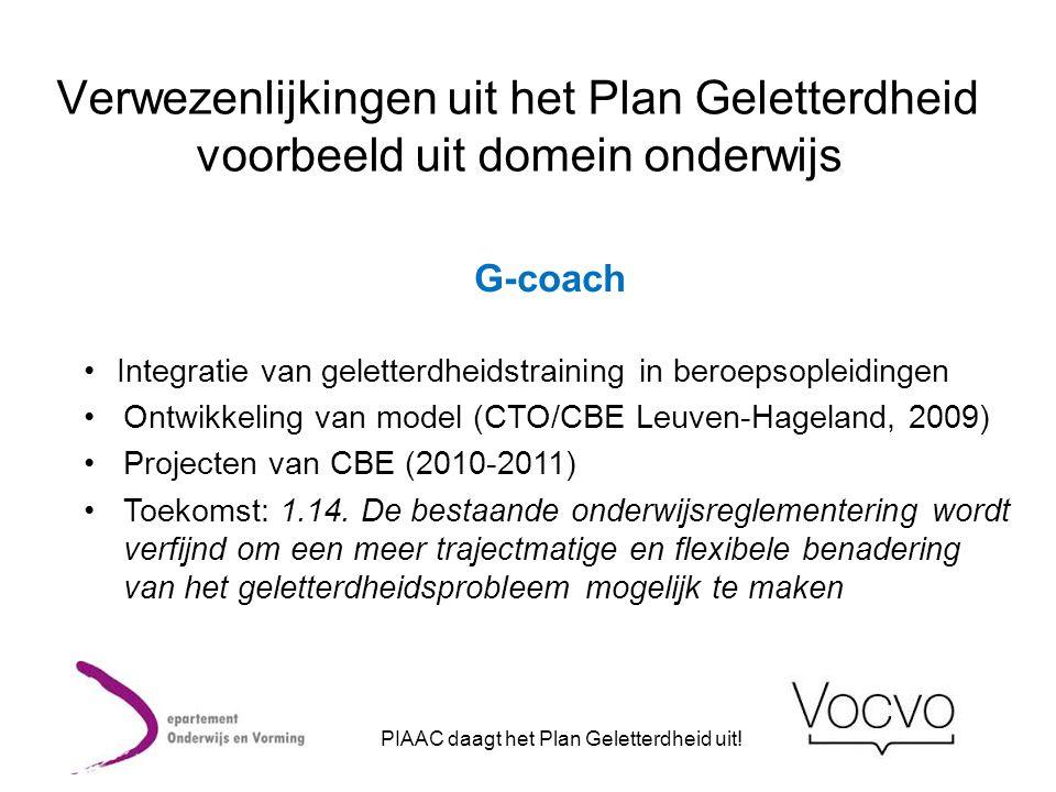 Verwezenlijkingen uit het Plan Geletterdheid voorbeeld uit domein onderwijs G-coach •Integratie van geletterdheidstraining in beroepsopleidingen •Ontw