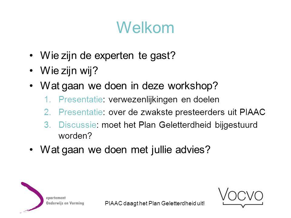 Welkom •Wie zijn de experten te gast? •Wie zijn wij? •Wat gaan we doen in deze workshop? 1.Presentatie: verwezenlijkingen en doelen 2.Presentatie: ove