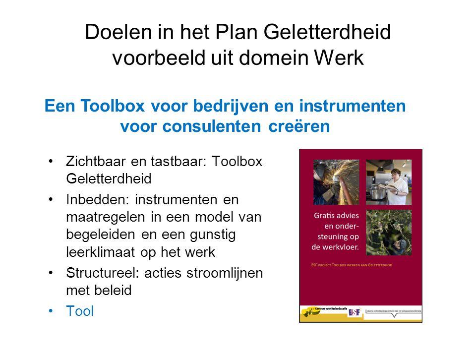 •Zichtbaar en tastbaar: Toolbox Geletterdheid •Inbedden: instrumenten en maatregelen in een model van begeleiden en een gunstig leerklimaat op het wer